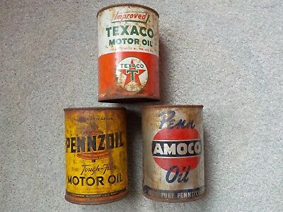 Vintage Mixed Lot of 3 Motor Oil Quart Metal Cans Texaco Pennzoil Amoco Opened