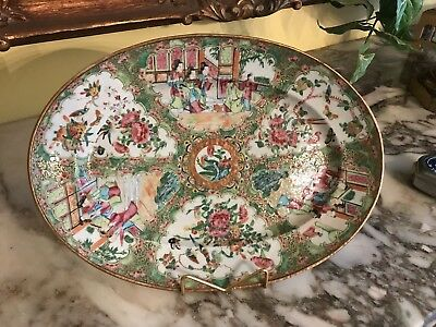 19th Century Chinese Rose Medallion Large & Small 2pc Platter Porcelain