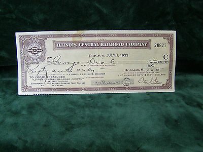 Vintage Illinois Central Railroad Company 1933 Uncashed Check No. 26877