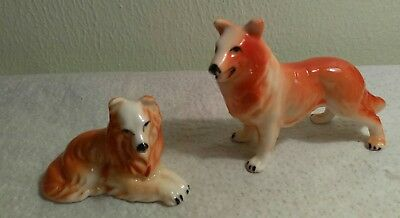 Vintage Miniature Collie Figurines Standing & Laying