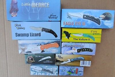 Lot of 10 Assorted Brand New in box Pocket Knives, frost cutlery