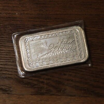 "1973 "" New Orleans "" Stamped Art Bar Mother Lode Mint 1oz 1 oz .999 Fine Silver"