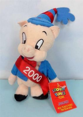 PORKY PIG with NEW YEARS HAT and SASH Mini Beanbag Doll