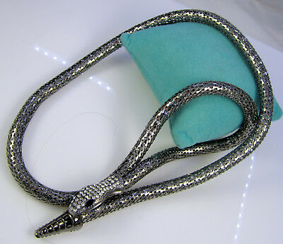 Estate Vintage Huge Silvertone Black Clear Rhinestone Eyes Snake Long Necklace