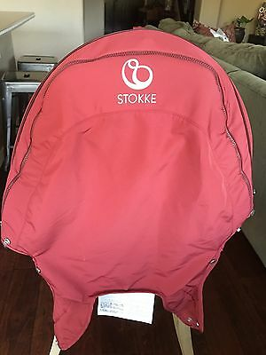 STOKKE Xplory Stroller Seat Rear Cover & Hood BURGANDY Sun Shade Vented Canopy