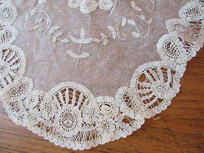 Vintage Oval Table Runner Net Tambour Lace Flowers Doily Antique