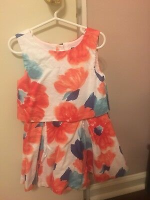 Janie and Jack DRESS Flowers Sleeveless size 5 Floral Dress LOVELY!