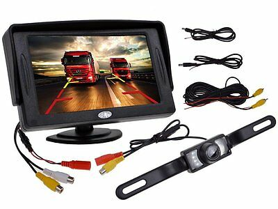 "4.3"" TFT LCD Monitor Car Rear View System Backup Reverse W/Night Vision Camera O"