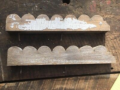Pair Antique Architectural Salvage Wooden White Chippy