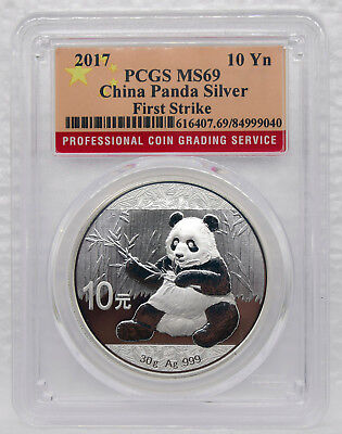 2017 China 10 Yuan Silver Panda PCGS MS69 - First Strike - Flag Label