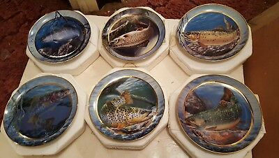 Lot Of 6 Field & Stream Various Trout Franklin Mint Plates Arts