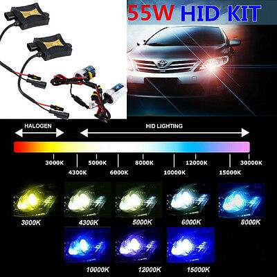 55W HID Xenon Bulbs Headlight Slim Ballast Conversion Kit H1 H3 H4 H7 9005 R