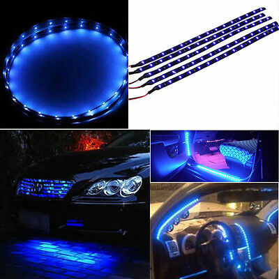 30cm Waterproof 15 Blue LED Car Vehicle Motor Grill Flexible Light Strip 12V OW