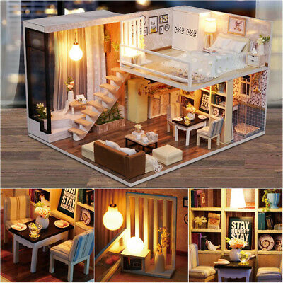 Modern Doll House Miniature DIY Kit Dollhouse With Furniture LED Light Box Gift