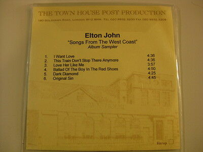 "Elton John ""Songs from the West Coast"" UK in-house TEST CD sampler RARE"