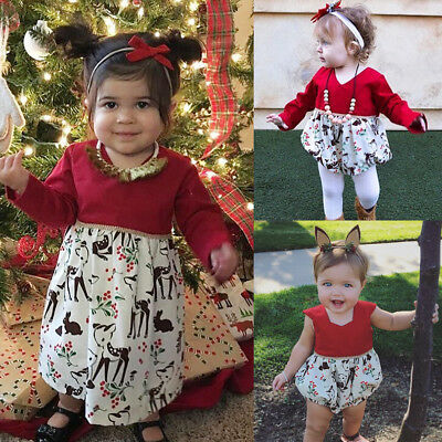 Christmas Kids Toddler Baby Girl Lace Princess Romper Dress Flower Dress Clothes