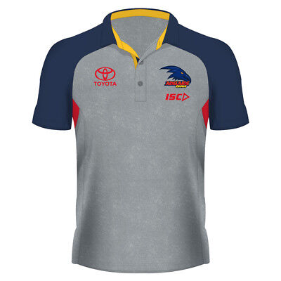 Adelaide Crows 2018 Alternate Polo Sizes S - 3XL Light Marle/Navy/Red AFL ISC