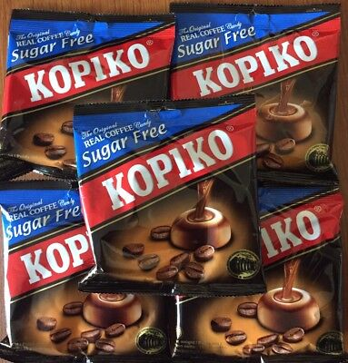 5 Packs x 75g The Original KOPIKO *SUGAR FREE* Real Coffee extract hard Candy