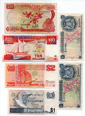 Singapore Orchids Birds & Ships Banknotes (6 Notes)