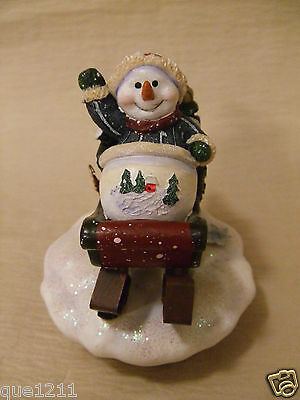 Home Interiors Jar Candle LID TOPPER - Snowman on Sled, Waving