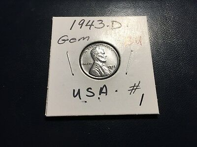 1943 D Steel Lincoln Wheat Penny Cent Gem Bu #1.