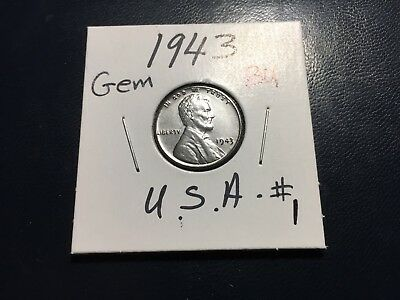 1943 P Steel Lincoln Wheat Penny Cent Gem Bu #1.