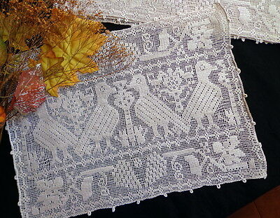 Authentic Antique Italian Handmade BURATTO FIGURAL LACE -2 Place Mats ZOOMORPHIC