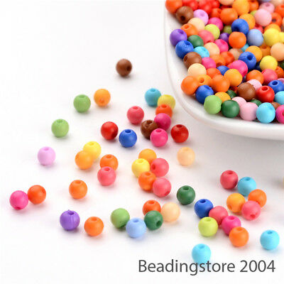 500pcs Colorful Solid Chunky Acrylic Beads Round Loose Ball Bead Spacer Tiny 4mm
