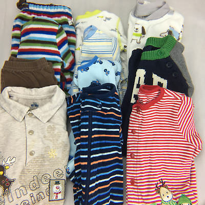 Baby Boy 11 Pc Lot Size 3-6m Long Sleeve Fleece Sleepers One Piece Outfits