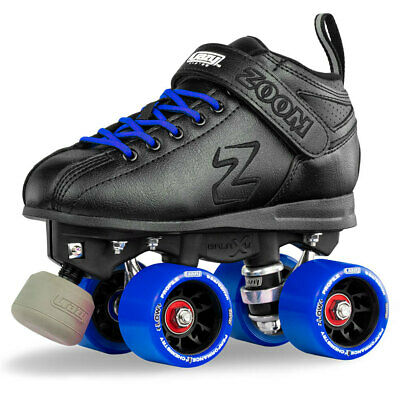 Zoom Speed Skate Quad Roller Skates with BLUE Custom Kit PLUS Bonus Jam Plugs!