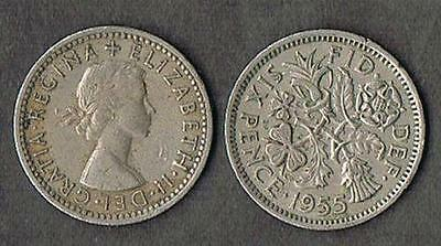 2 BRITISH WEDDING SIXPENCE Elizabeth II 1955 UK ENGLAND COINS