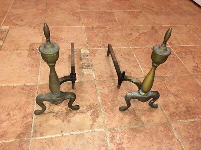 Pair of Antique French Style (Brass?)Footed Fireplace Andirons Log Holders
