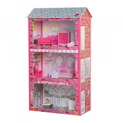 Plum Plaza Wooden Dolls House with Furniture NEW