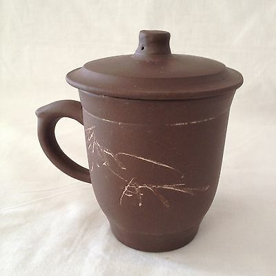 Chinese Handmade & Designed Zisha Dark Brown Clay Tea Mug with Lid (Lot#15CNTC)