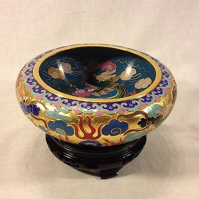 """Chinese 6"""" Cloisonne Enamel Brass Dragon Bowl & Wood Stand"""