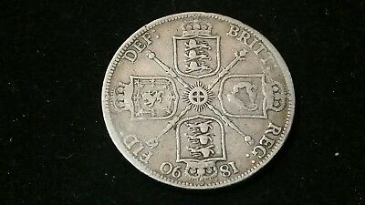 1890 . Great Britain . Florin . Sterling Silver Coinage . Queen Victoria