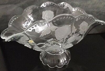 Large Vintage Crystal Banana Boat Fan Shape Fruit Bowl Vase Frost Rose Pattern