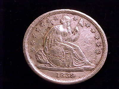 1839 Seated Liberty Dime with Extra Fine grade details