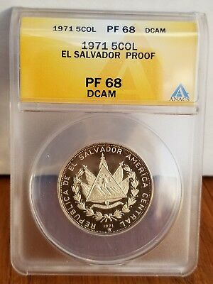 ANACS PR 68 - 1977 El Salvador .999 Silver 5 Colon Coin 150th Anniversary Proof