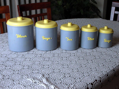Vintage 1950's  60's Yellow & Grey EON Ware Kitchen Canister Container Set Retro