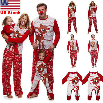 US Family Matching Christmas Pajamas Sets Xmas Sleepwear Nightwear Adults Kids
