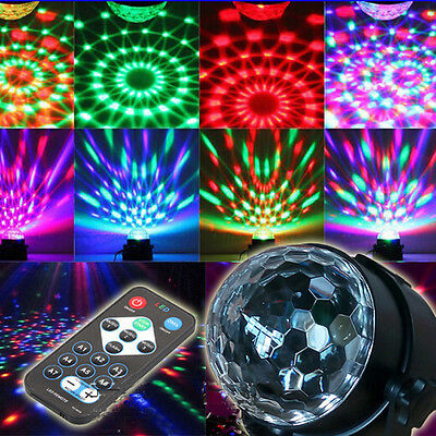 LED RGB Crystal Magic Disco Ball Light - Sound Activated With Remote Party DJ US