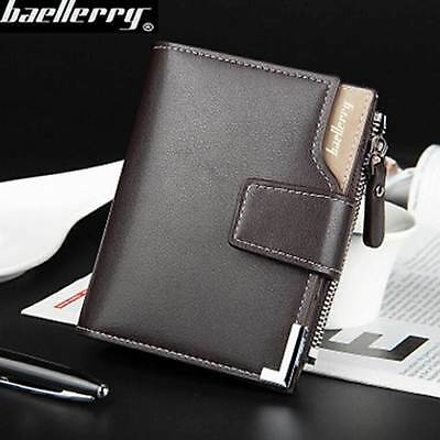 Fashion Vertical Design Multifunction Three Fold Men's Leather Zipper Money Clip