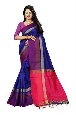 Indian Bollywood  Bridal Wear Indian Style Blue Cotton Silk Woven Saree-3106