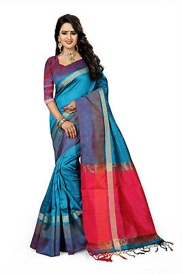 Bollywood Indian Ethnic wear Turquoise Cotton Silk Woven Saree-3108