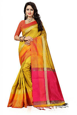 Indian Ethnic Traditional  Bridal Wear Yellow Cotton Silk Woven Saree-3112