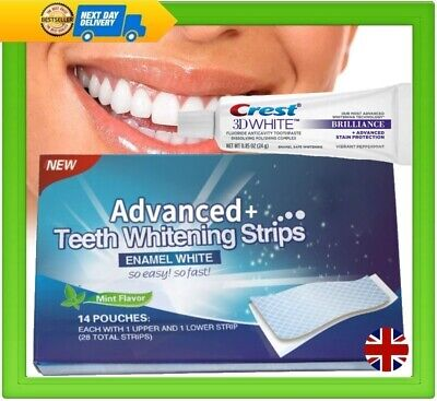 28 Teeth Whitening Advanced Strips Professional + Free Crest3D Toothpaste