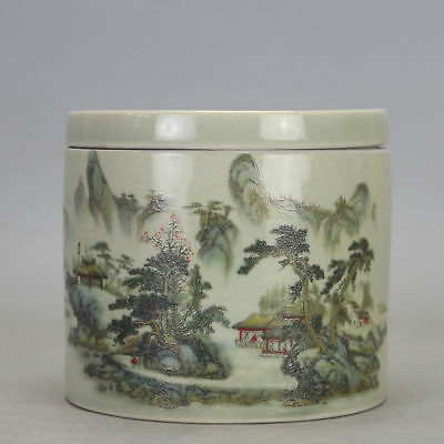 Chinese old  porcelain famille rose glaze landscape pattern Cricket cans