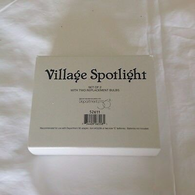 Department 56 VILLAGE SPOTLIGHTS Set Of 2 With 2 Extra Bulbs #52611