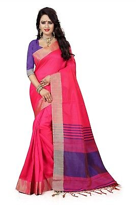 Indian Bollywood Party Traditional Wear Pink Cotton Silk Woven Saree-3133